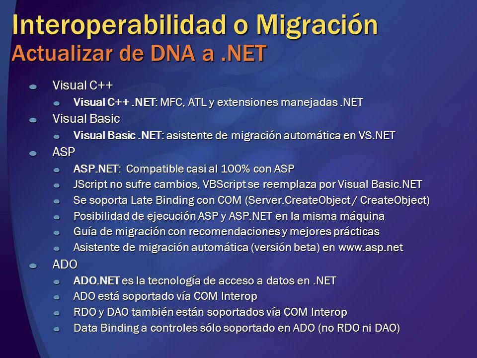 Interoperabilidad o Migración Actualizar de DNA a .NET