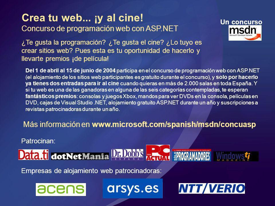 Crea tu web... ¡y al cine! Concurso de programación web con ASP.NET