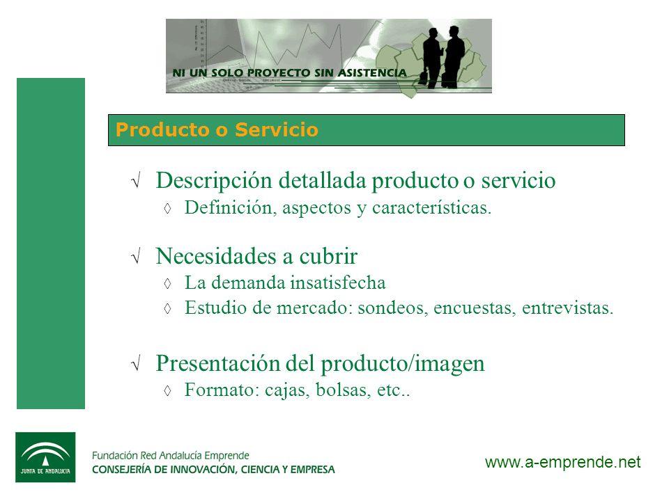 Descripción detallada producto o servicio Necesidades a cubrir