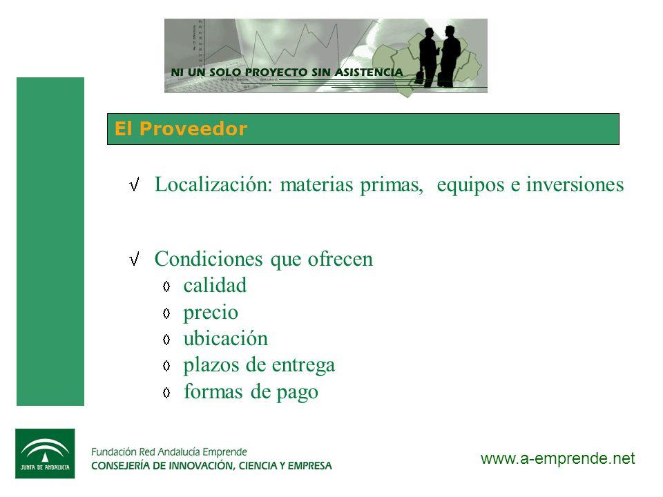 Localización: materias primas, equipos e inversiones