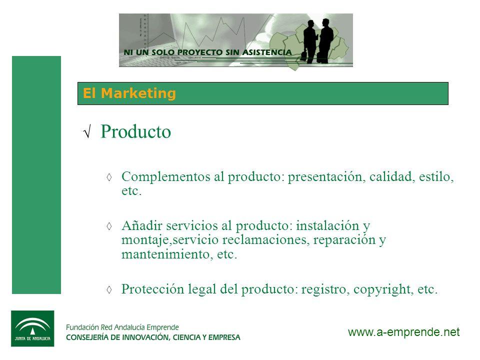 Producto Complementos al producto: presentación, calidad, estilo, etc.
