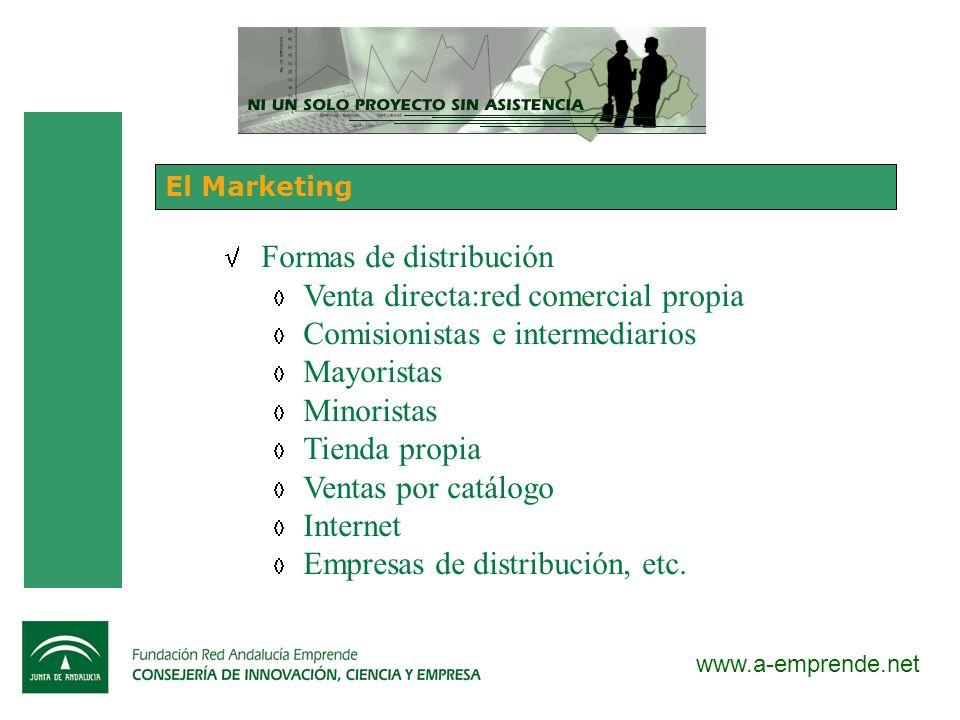 Formas de distribución Venta directa:red comercial propia