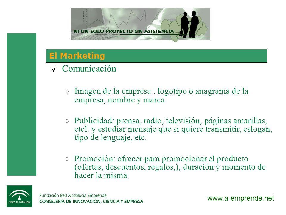 El Marketing Comunicación. Imagen de la empresa : logotipo o anagrama de la empresa, nombre y marca.