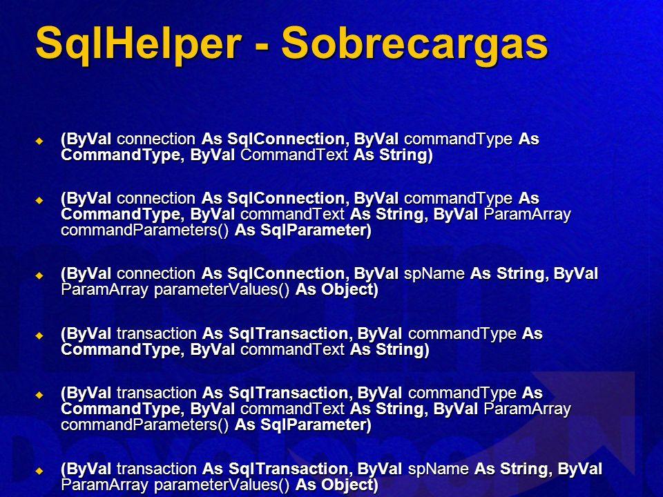 SqlHelper - Sobrecargas