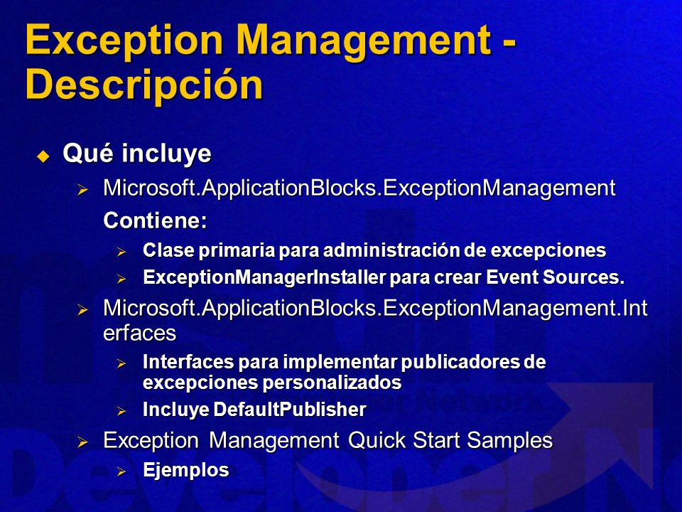 Exception Management - Descripción
