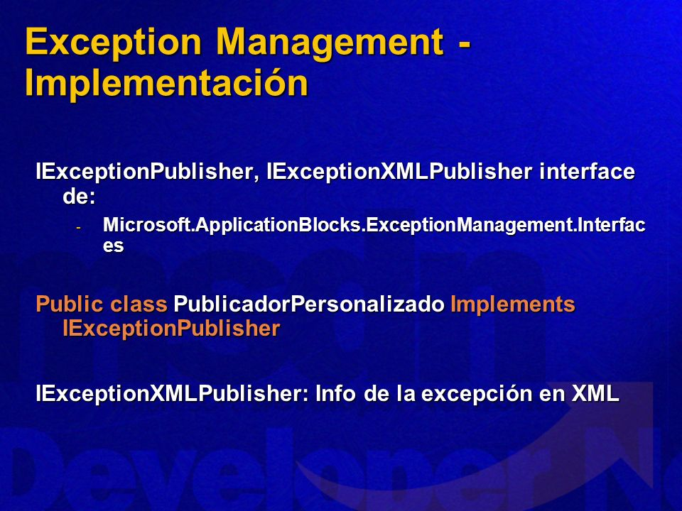 Exception Management - Implementación