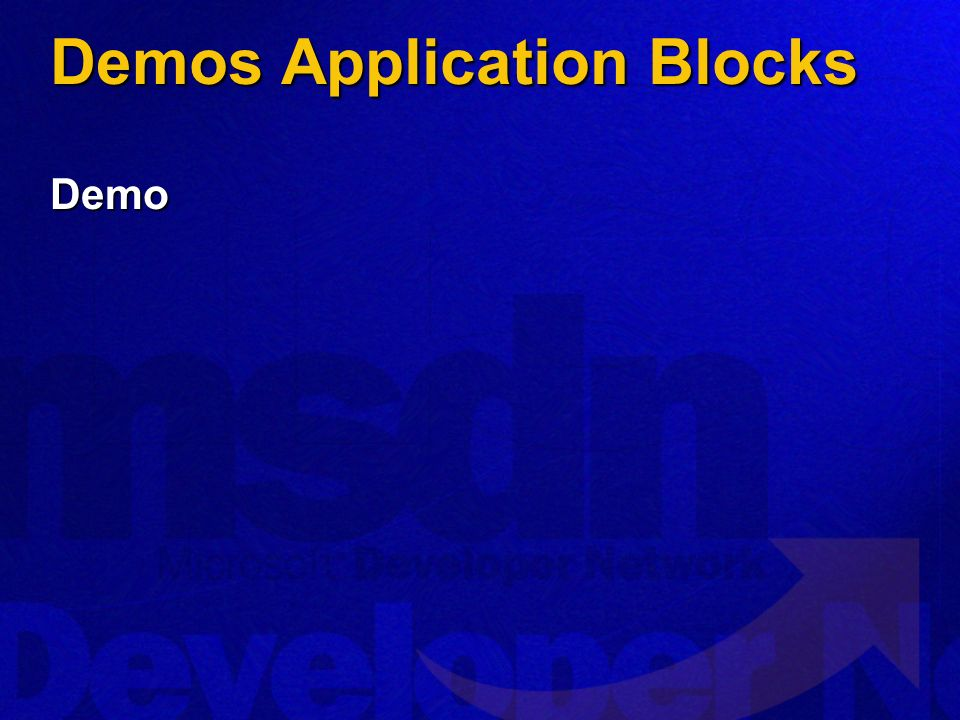 Demos Application Blocks