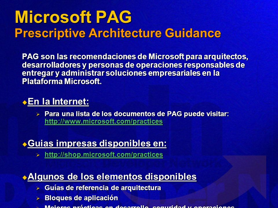 Microsoft PAG Prescriptive Architecture Guidance