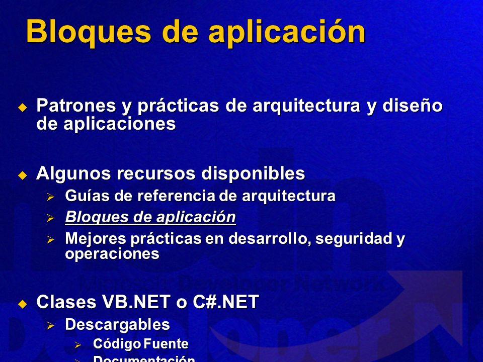 Bloques de aplicación Patrones y prácticas de arquitectura y diseño de aplicaciones. Algunos recursos disponibles.