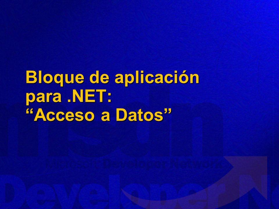 Bloque de aplicación para .NET: Acceso a Datos