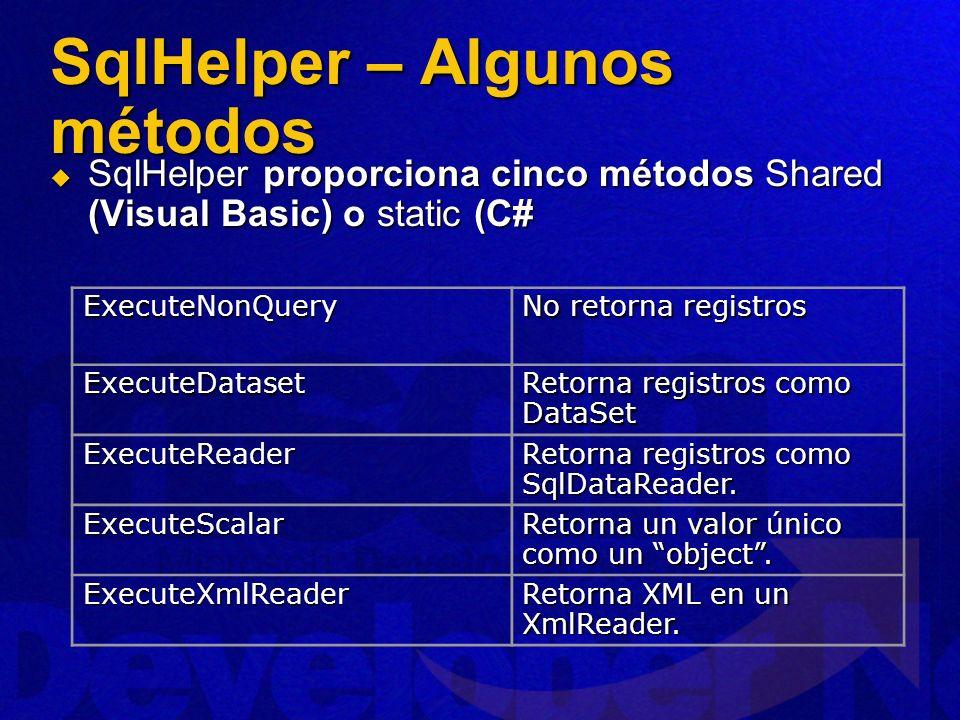 SqlHelper – Algunos métodos