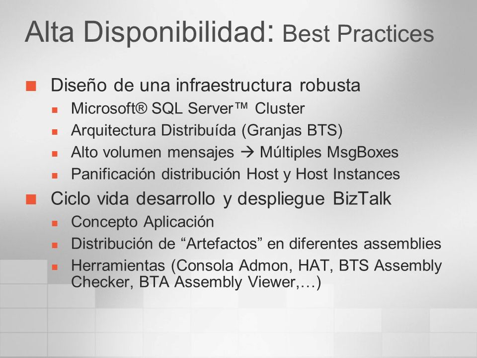 Alta Disponibilidad: Best Practices