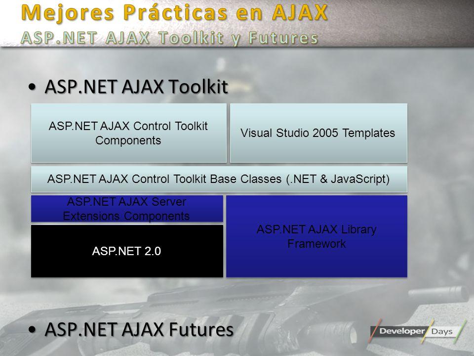 Mejores Prácticas en AJAX ASP.NET AJAX Toolkit y Futures
