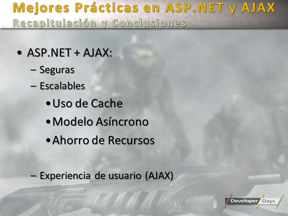 Mejores Prácticas en ASP.NET y AJAX Recapitulación y Conclusiones