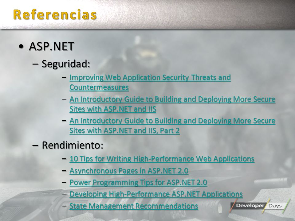 Referencias ASP.NET Seguridad: Rendimiento: