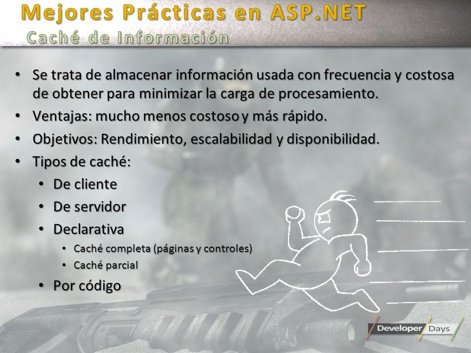 Mejores Prácticas en ASP.NET Caché de Información