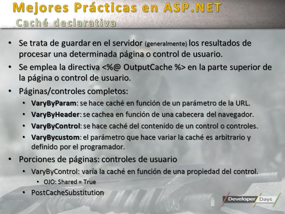 Mejores Prácticas en ASP.NET Caché declarativa