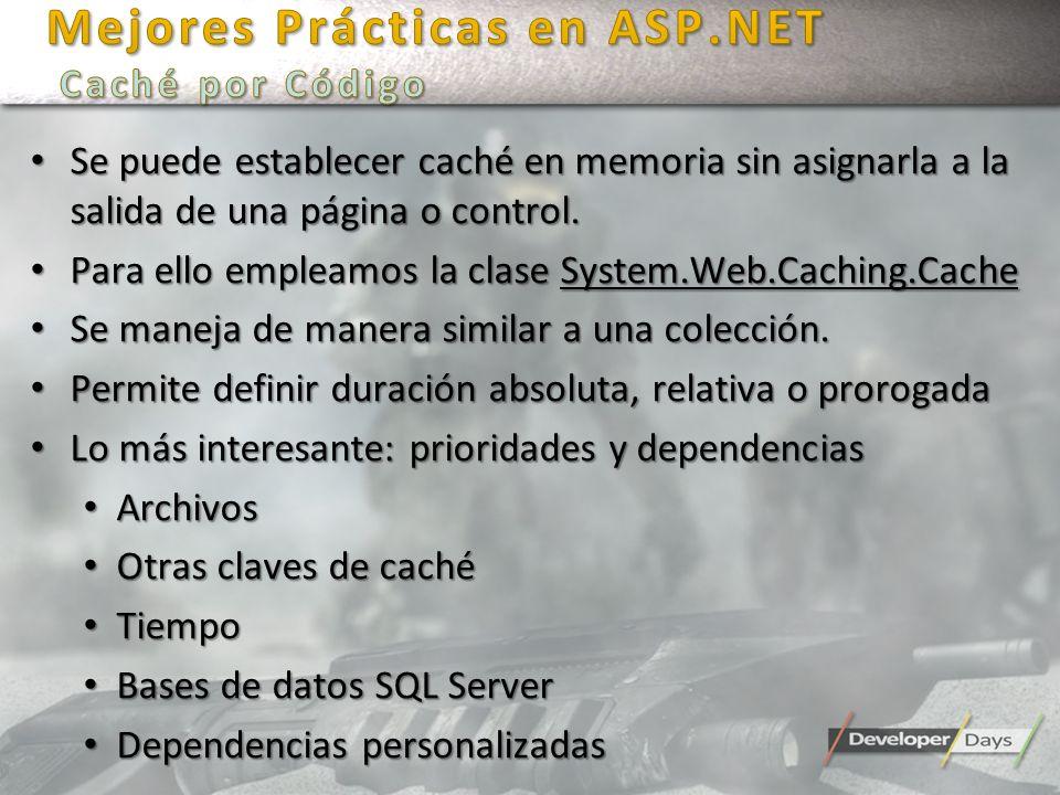 Mejores Prácticas en ASP.NET Caché por Código