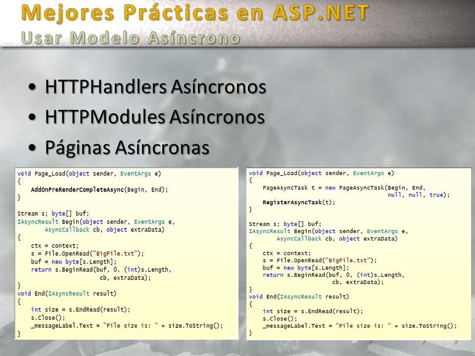 Mejores Prácticas en ASP.NET Usar Modelo Asíncrono
