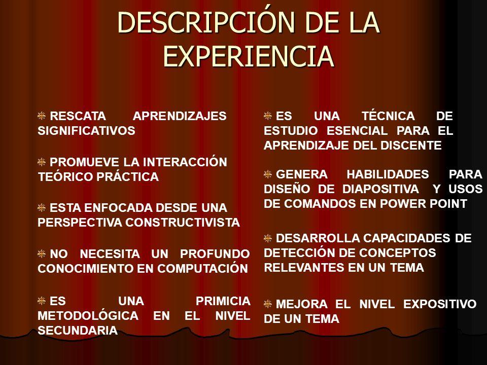 DESCRIPCIÓN DE LA EXPERIENCIA