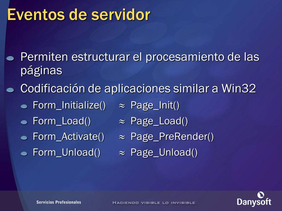 Eventos de servidor Permiten estructurar el procesamiento de las páginas. Codificación de aplicaciones similar a Win32.