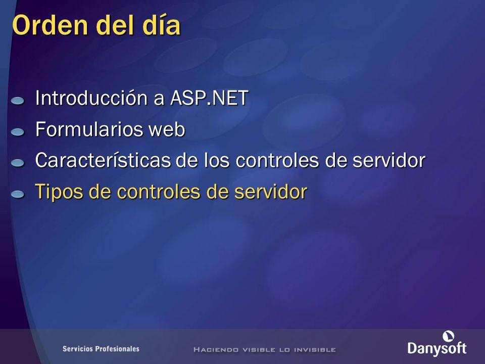 Orden del día Introducción a ASP.NET Formularios web