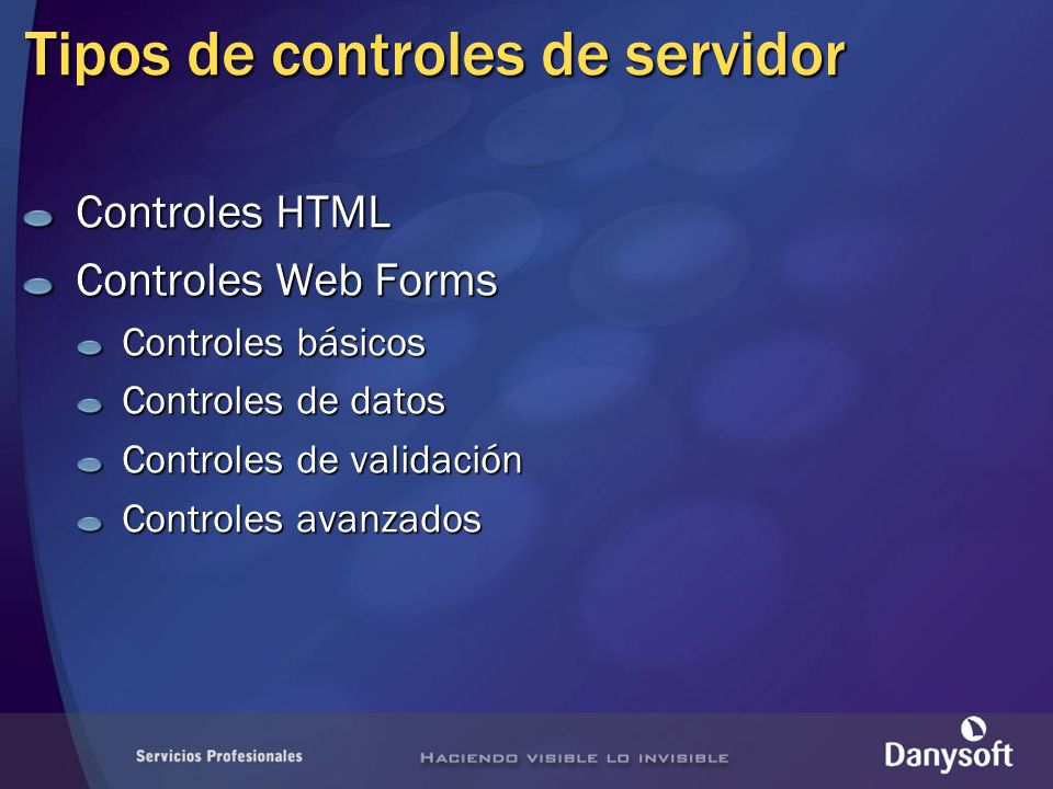 Tipos de controles de servidor