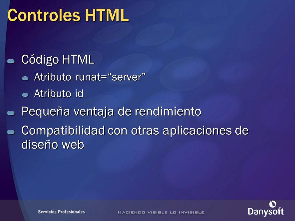 Controles HTML Código HTML Pequeña ventaja de rendimiento
