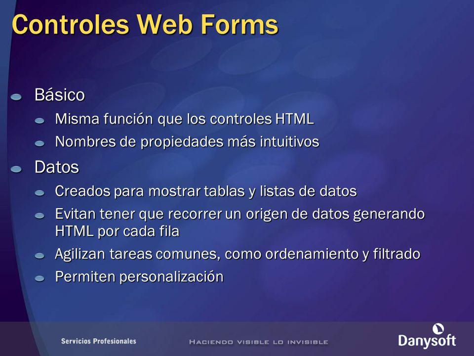 Controles Web Forms Básico Datos Misma función que los controles HTML