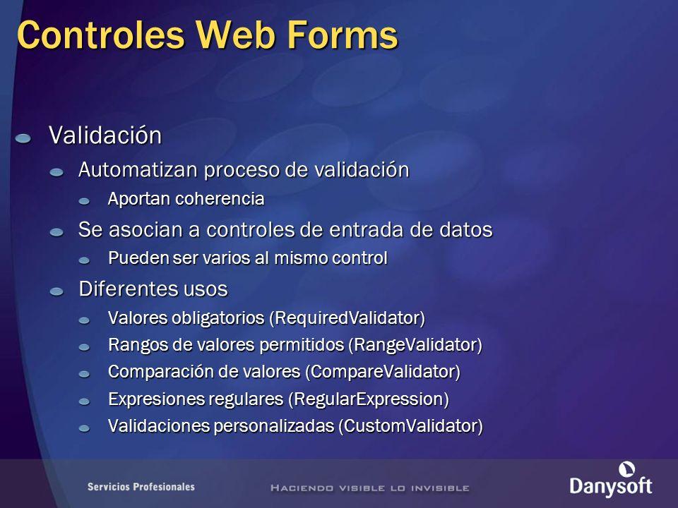 Controles Web Forms Validación Automatizan proceso de validación