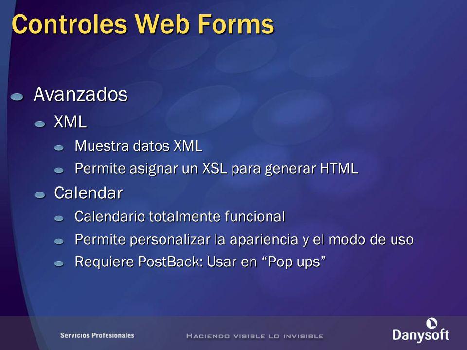 Controles Web Forms Avanzados XML Calendar Muestra datos XML