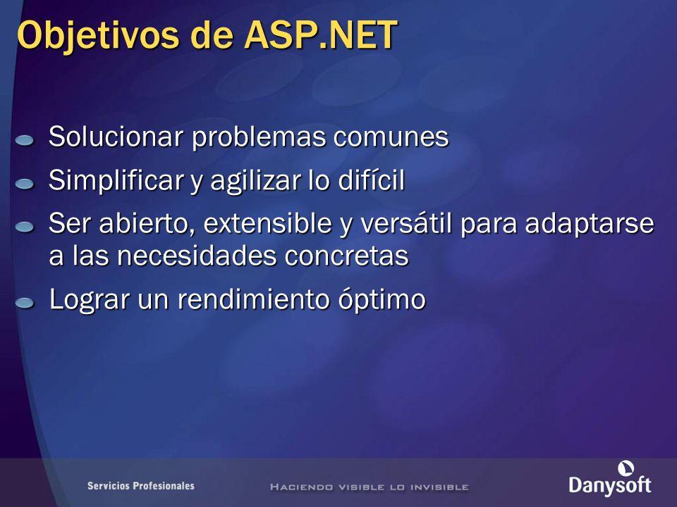 Objetivos de ASP.NET Solucionar problemas comunes