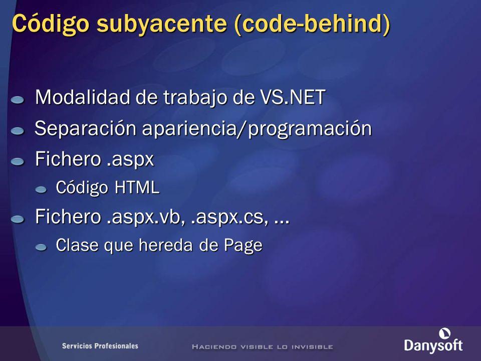 Código subyacente (code-behind)