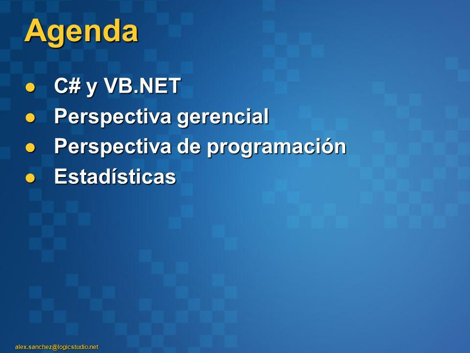 Agenda C# y VB.NET Perspectiva gerencial Perspectiva de programación