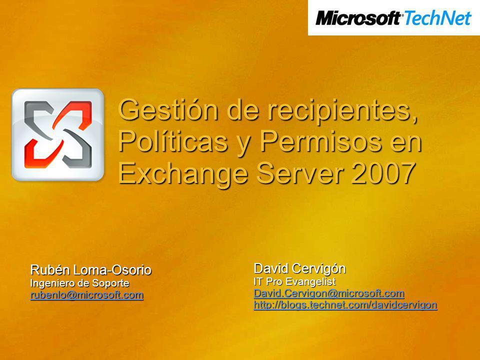 Gestión de recipientes, Políticas y Permisos en Exchange Server 2007