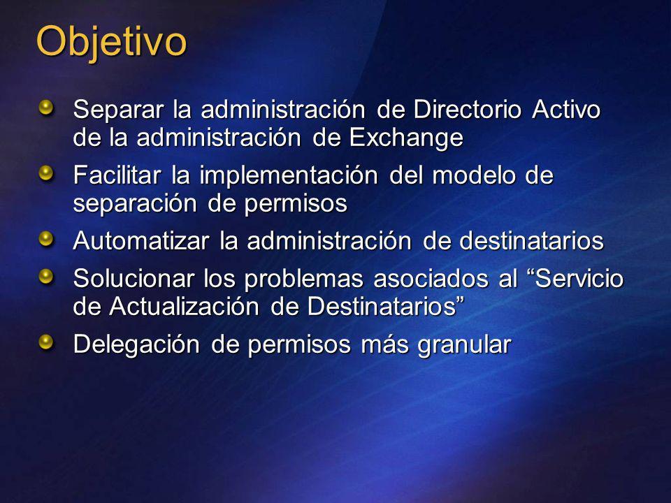Objetivo Separar la administración de Directorio Activo de la administración de Exchange.
