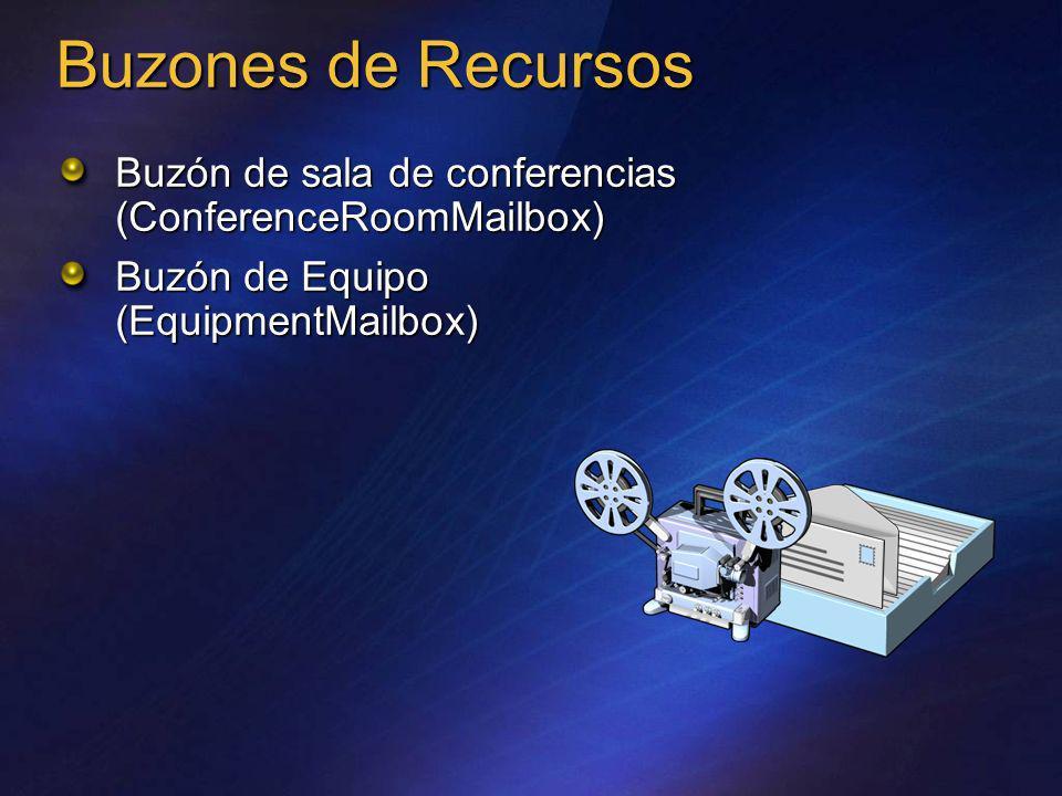Buzones de RecursosBuzón de sala de conferencias (ConferenceRoomMailbox) Buzón de Equipo (EquipmentMailbox)