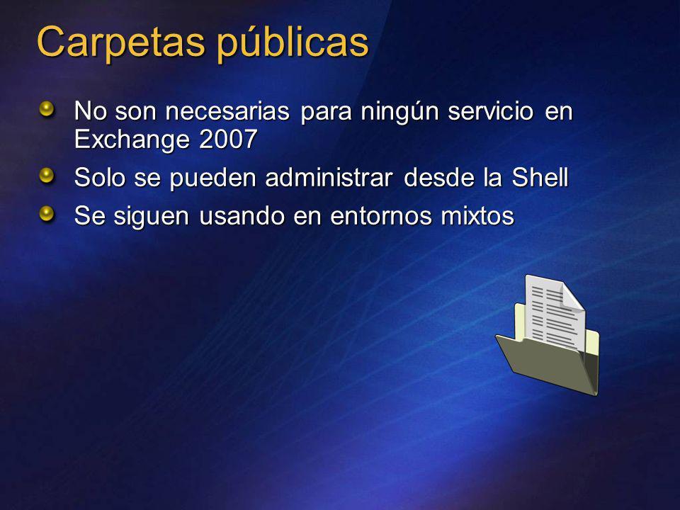Carpetas públicasNo son necesarias para ningún servicio en Exchange 2007. Solo se pueden administrar desde la Shell.