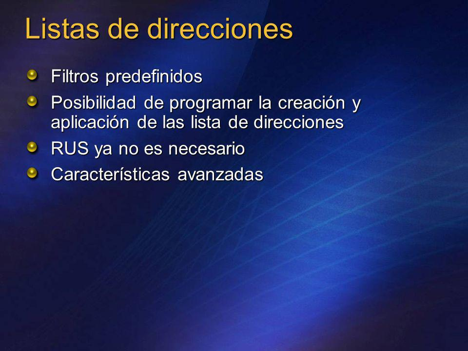 Listas de direcciones Filtros predefinidos