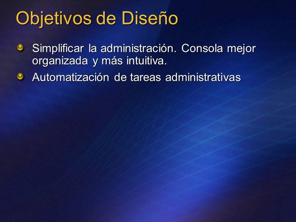 Objetivos de DiseñoSimplificar la administración.Consola mejor organizada y más intuitiva.