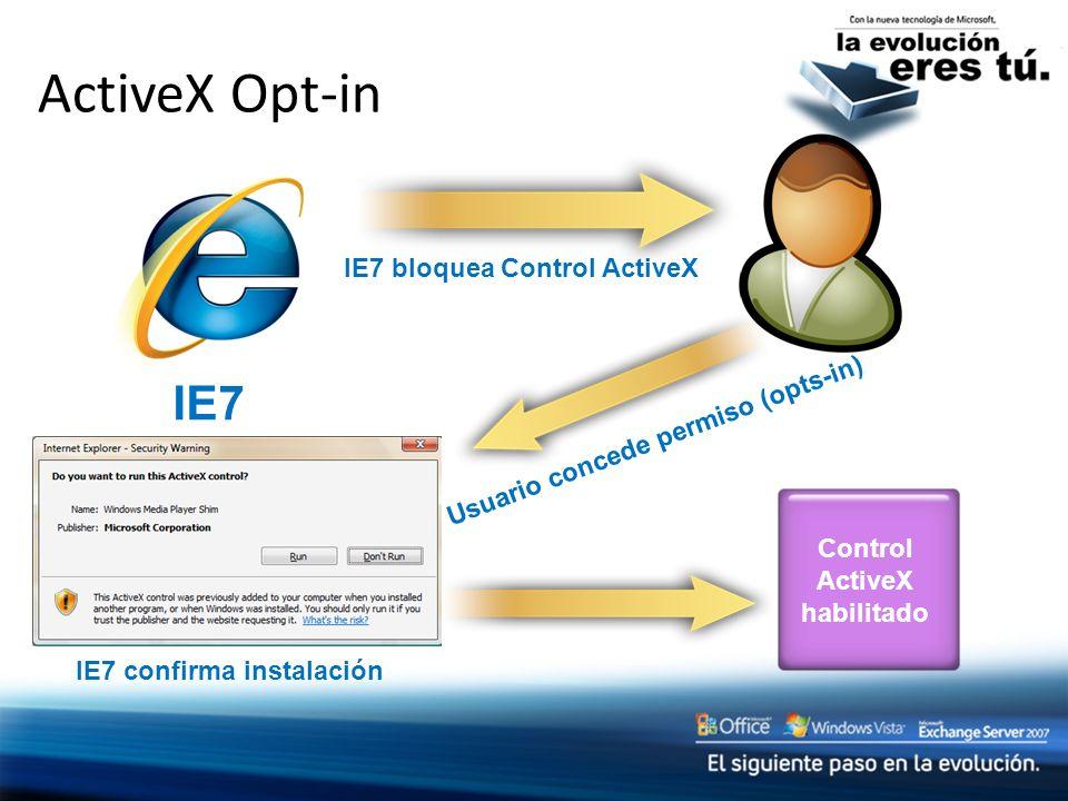IE7 confirma instalación Control ActiveX habilitado