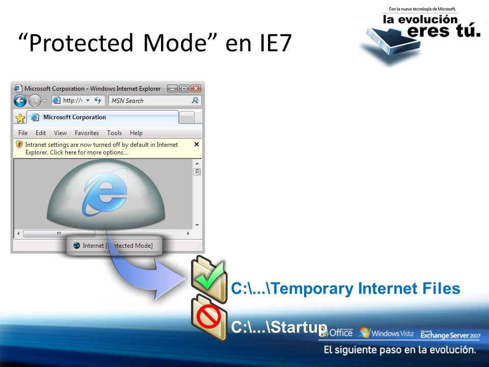 Protected Mode en IE7 C:\...\Temporary Internet Files C:\...\Startup