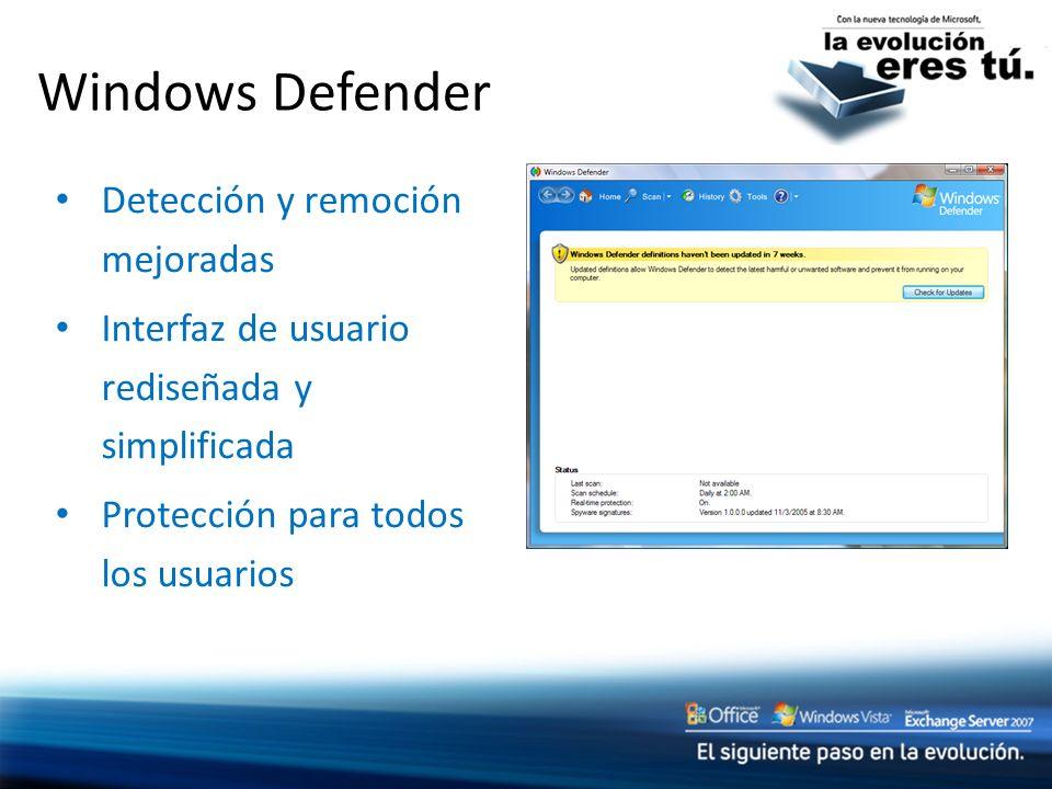 Windows Defender Detección y remoción mejoradas