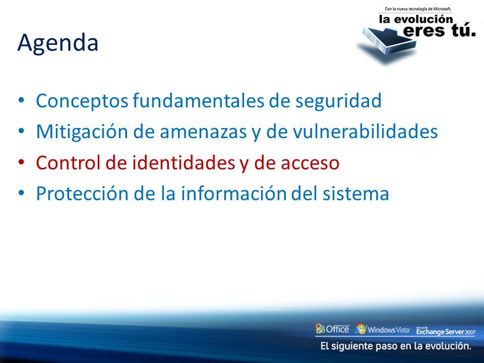 Agenda Conceptos fundamentales de seguridad