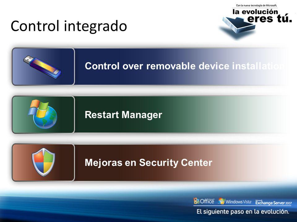 Control integrado Control over removable device installation
