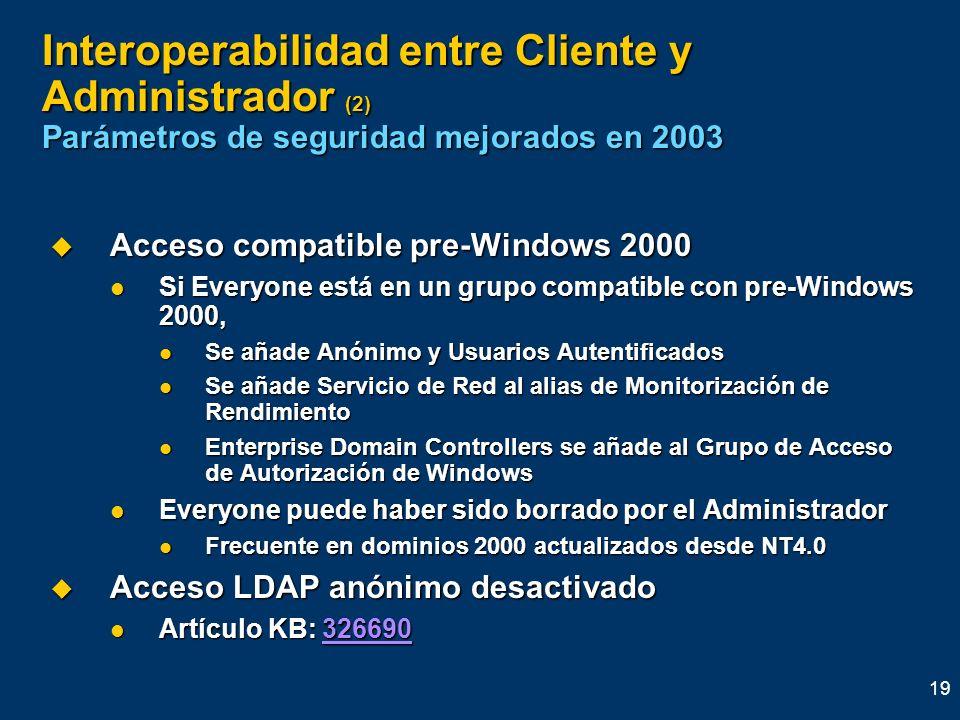 Interoperabilidad entre Cliente y Administrador (2) Parámetros de seguridad mejorados en 2003