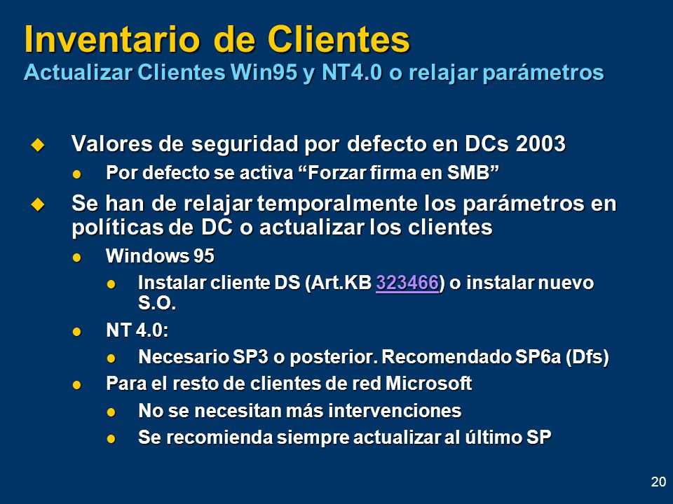 Inventario de Clientes Actualizar Clientes Win95 y NT4