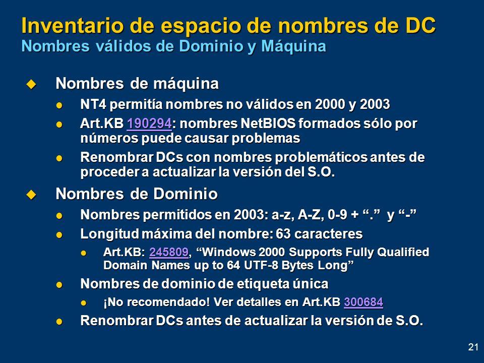Inventario de espacio de nombres de DC Nombres válidos de Dominio y Máquina