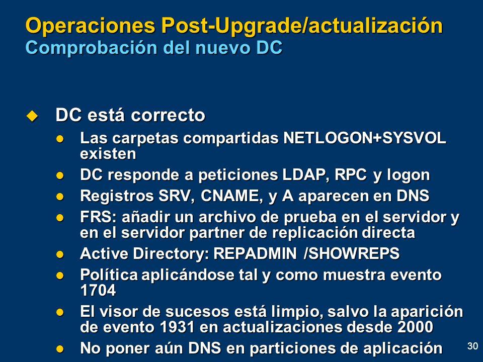 Operaciones Post-Upgrade/actualización Comprobación del nuevo DC