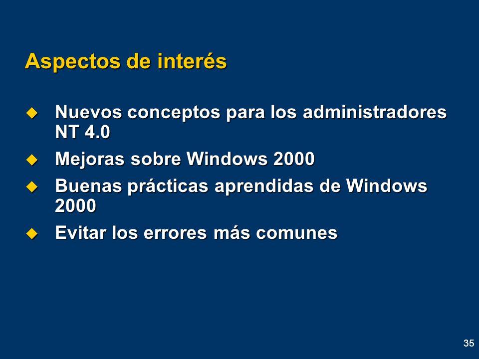Aspectos de interés Nuevos conceptos para los administradores NT 4.0
